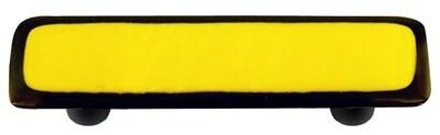 Hot Knobs Glass Cabinet Pull Black Border Sunflower Yellow
