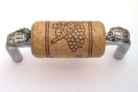 Vine Designs Brushed Chrome Cabinet Handle, walnut cork, silver  barrel accents