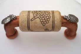 Vine Designs Cherry Cabinet Handle, natural cork, silver barrel accents