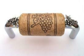 Vine Designs Chrome Cabinet Handle, walnut cork, silver grapes accents