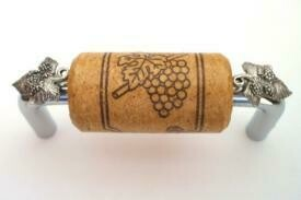 Vine Designs Chrome Cabinet Handle, oak cork, silver leaf accents