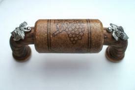 Vine Designs Espresso Cabinet Handle, matching cork, silver barrell accents