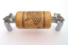 Vine Designs Brushed Chrome Cabinet Handle, oak cork, silver leaf accents