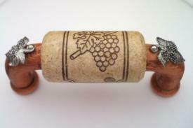 Vine Designs Cherry Cabinet Handle, natural cork, silver leaf accents