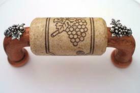 Vine Designs Cherry Cabinet Handle, natural cork, silver grapes accents