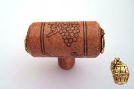 Vine Designs Cherry Stem Cabinet knob, matching cork, gold barrel accents