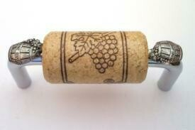 Vine Designs Chrome Cabinet Handle, natural cork, silver barrel accents