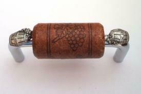 Vine Designs Chrome Cabinet Handle, mahogany cork, silver barrel accents