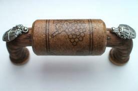 Vine Designs Espresso Cabinet Handle, matching cork, silver barrel accents
