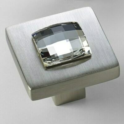Deco & Deco Decorative Cabinet Knobs Solid Brass Cabinet Knob with Swarovski Crystal Brushed Nickel