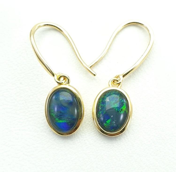 Black Opal Triplet - GP on Silver - Earring