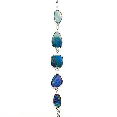 Black Opal Doublet - Rhodium Silver - Bracelet