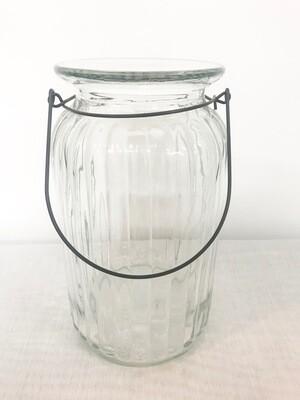 Glass w/Lines & Wire Handle Lantern