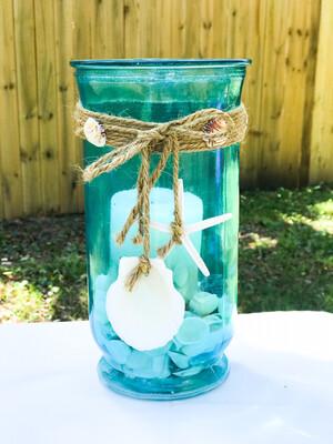 Aqua Glass Vase W/Twine & Shells