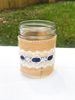 "4"" Jar with Burlap, Lace & Navy Ribbon"