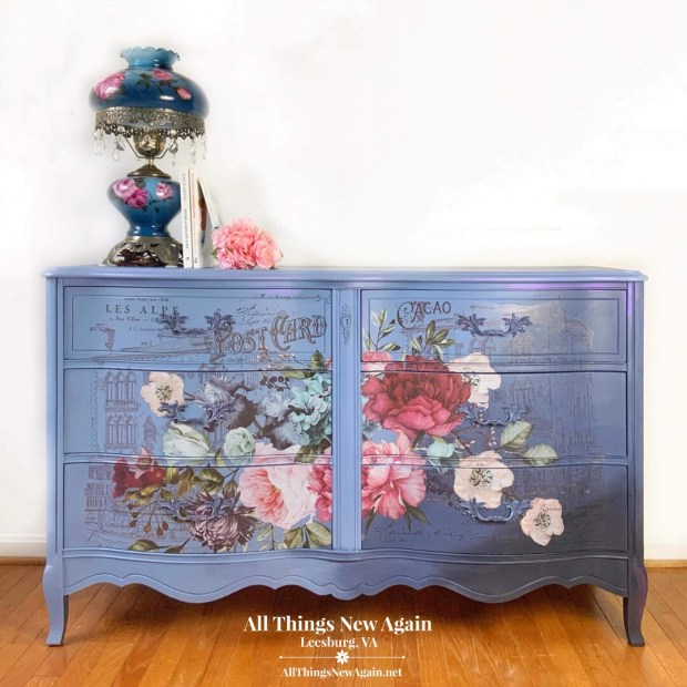 Furniture: Blue French Provincial Dresser with Floral Design