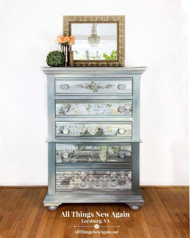 Furniture: Romantic Gray Dresser with Flowers