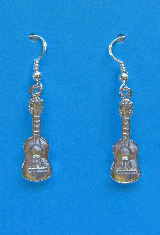 Silver Ukulele Earrings