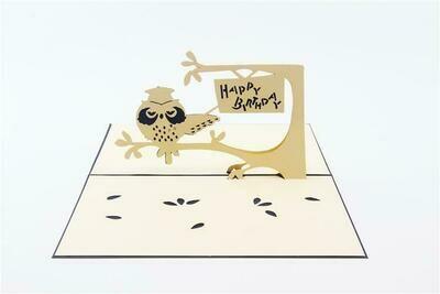 Pop Up Owl Happy Birthday Card