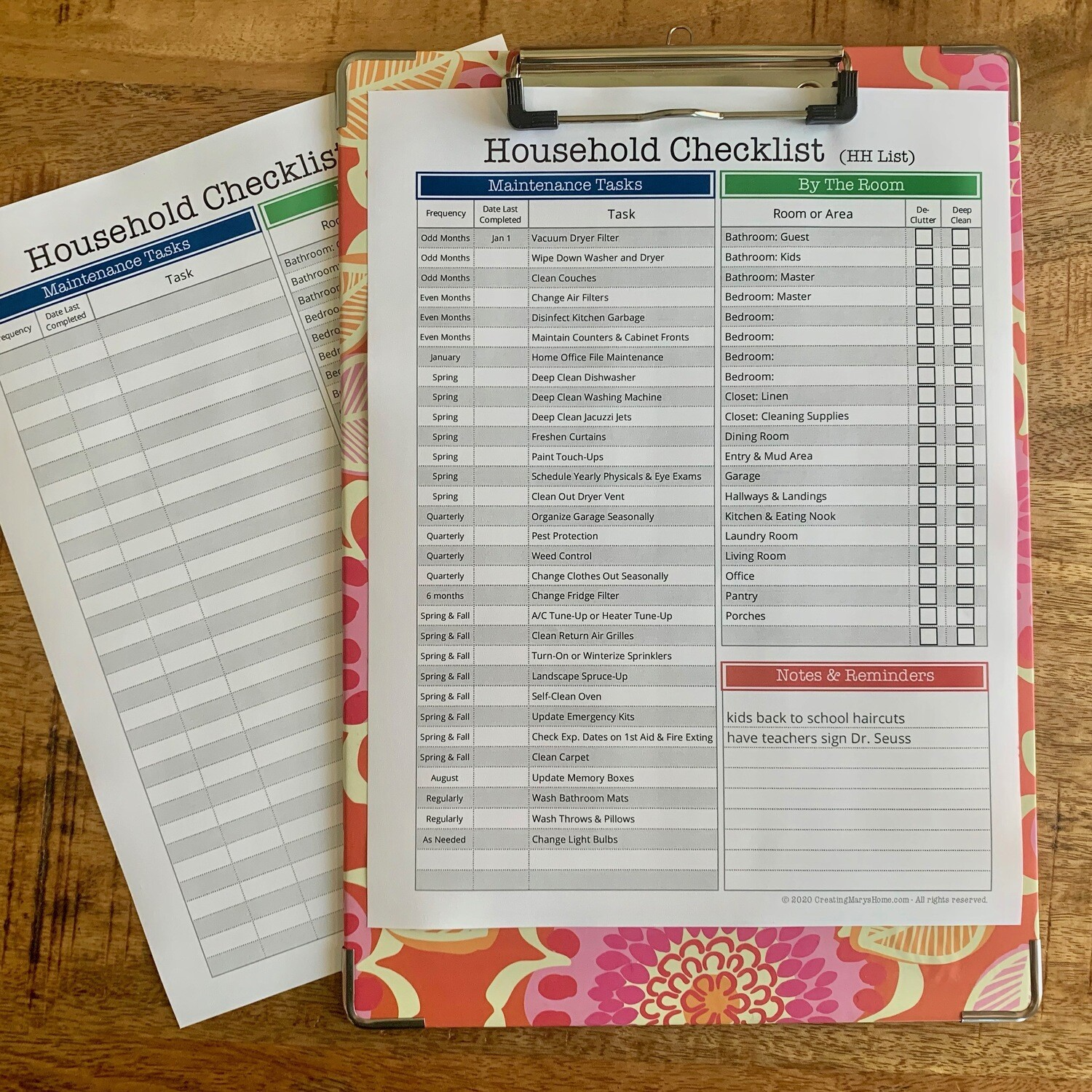 HH List - Household Management Checklist (customizable)
