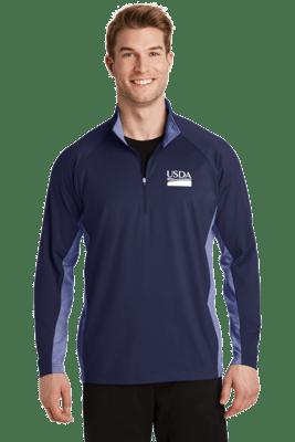 Unisex Sport Wick Stretch Contrast 1/2 Zip Pullover