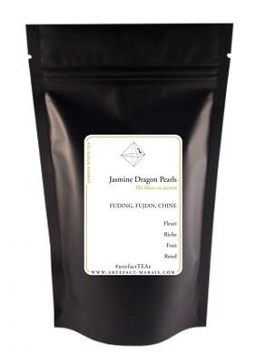 Jasmine Dragon Pearls [Thé blanc de Chine au jasmin] : Paquet de 50g