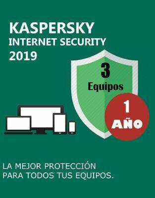 Kaspersky Internet Security 3 Pc 1 Año.