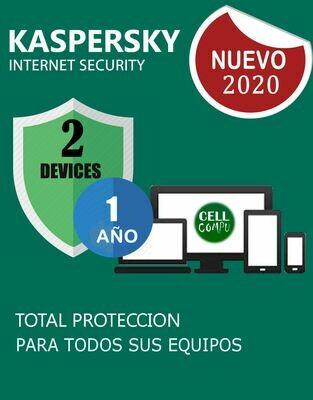 KASPERSKY INSTERNET SECURITY  2PC 1AÑO
