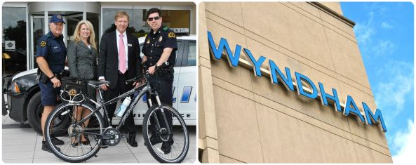 Shown are :  Officer Kevin Willis, Wyndham Manager Jeremy Millar, Sales Associate Lisa Richards, Major Andy Harvey