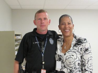 Officer Crites and Department of Aviation tenant liaison Rozalind Dickerson