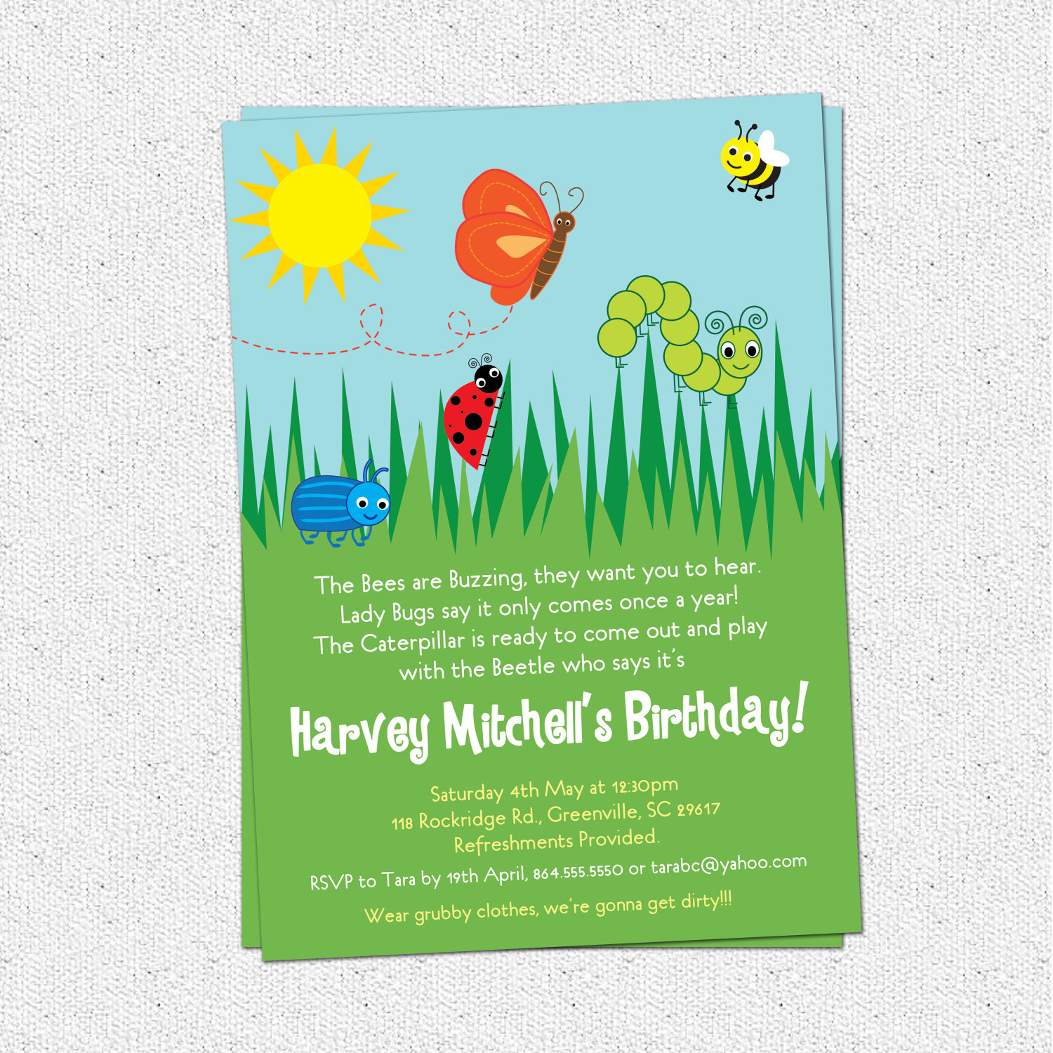 bug insects birthday party invitations