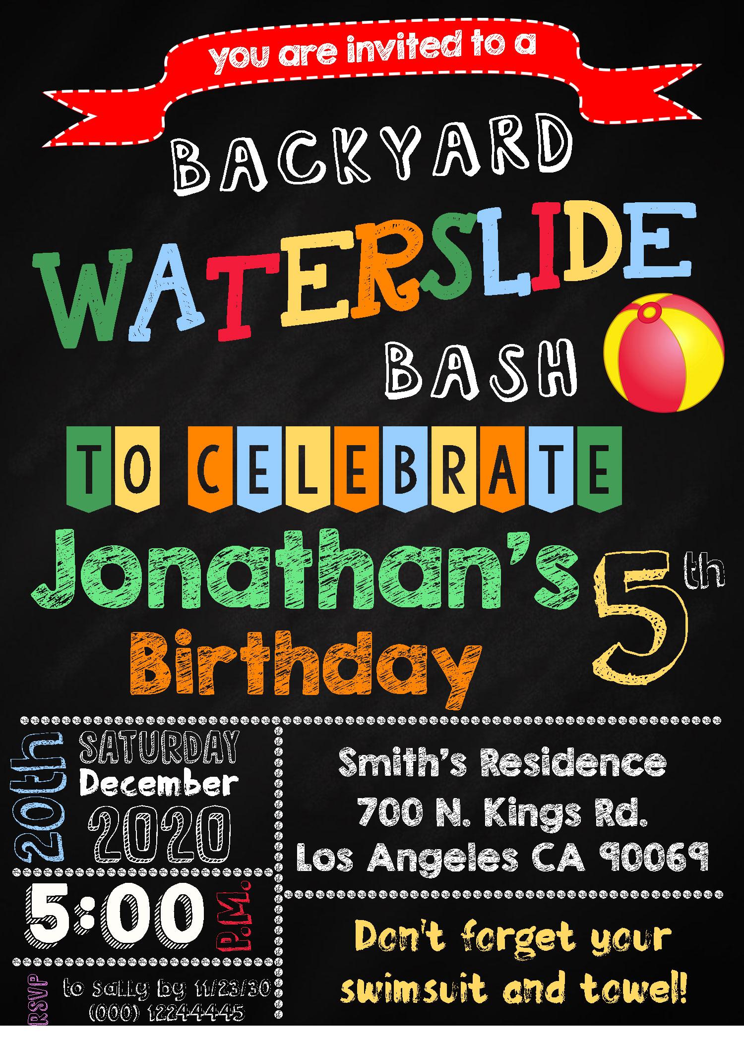 waterslide party birthday invitation