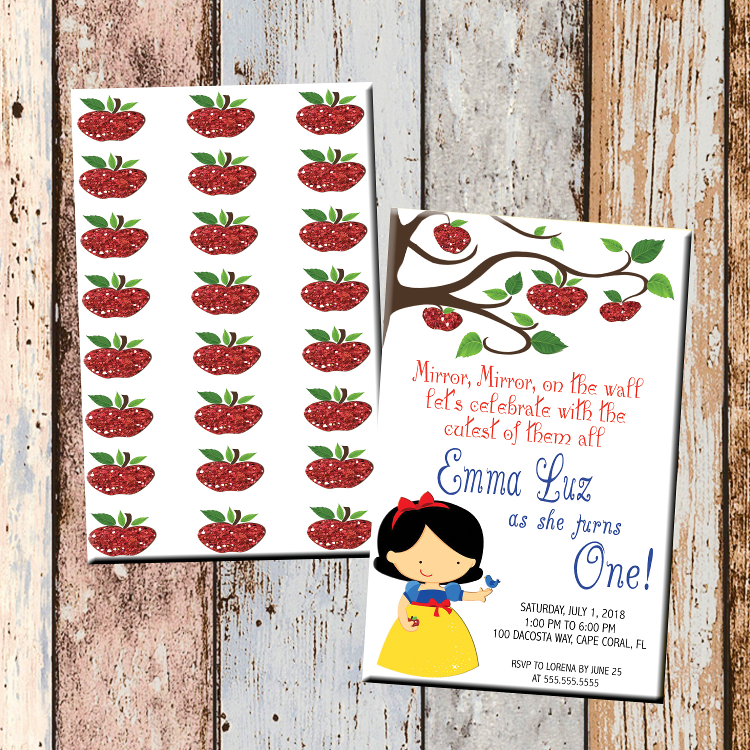 snow white apple personalized birthday invitation 2 sided birthday card party invitation snow white party