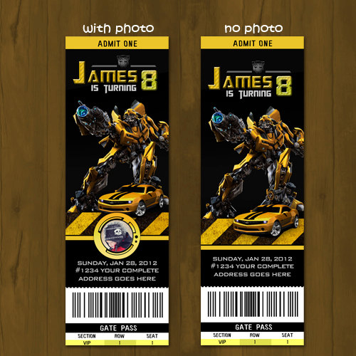 transformers bumblebee ticket birthday