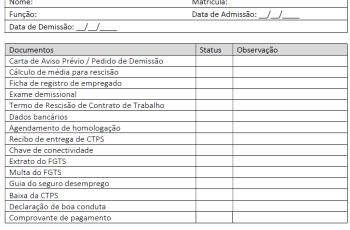 Modelo de Checklist: Arquivamento do processo de demissão
