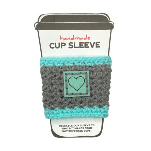 Gray and aqua stripe cup sleeve with heart badge