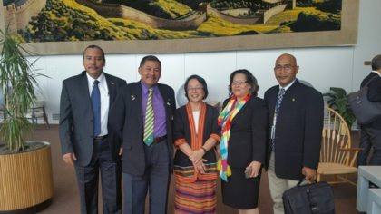 (Left to right) Mervyn Williams, Ministerial Adviser; Vice President Sydney Allicock; United Nations Special Rapporteur on the Rights of Indigenous Peoples, Ms Victoria Tauli-Corpuz, Project Coordinator, Jude Da Silva and Chairman of the National Toshaos' Council, Joel Fredericks