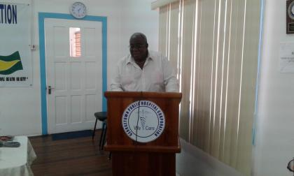 Clinton Williams, Founder of the Fyrish/ Gibraltar/Courtland Support Group delivering brief remarks at the handing over of medical equipment to the Georgetown Public Hospital Corporation