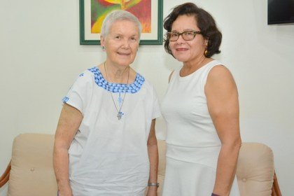 Sister Judith Schmelz of the Sisters of Mercy community in Guyana and First Lady, Mrs. Sandra Granger at State House