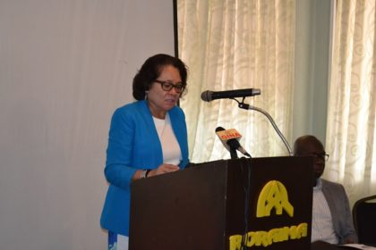 First Lady Mrs. Sandra Granger delivering remarks at the awareness training workshop on Trafficking in Persons