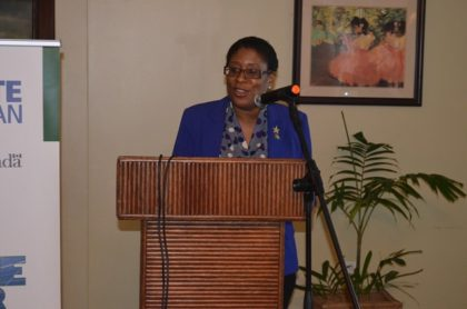 Minister of Telecommunications and Tourism Cathy Hughes addressing the gathering at the event