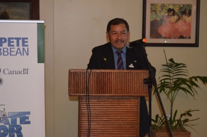Minster of Indigenous Peoples' Affairs, Sydney Allicock delivering his remarks at the ceremony