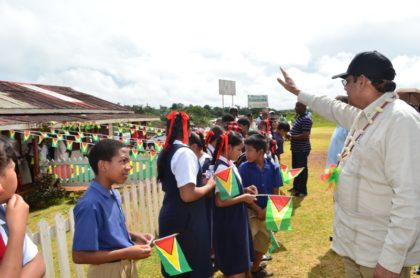 Prime Minister Moses Nagamootoo welcomed by children of Mabaruma