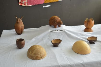 Some of the handmade coconut craft on display