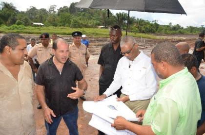 President David Granger receiving a status update on works that are currently on-going on the Fairview Airstrip