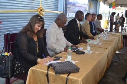 (from left) Representative of the College of the North Atlantic, Elizabeth Vincent Chief Education Officer (CEO), Senior Technical Vocational Education and Training (TVET) Officer Jerry Simpson, Chief Education Officer, Minister of Education, Olato Sam, Charge D' Affairs, Canadian High Commission, Daniel Joly, Training Coordinator, Machinery Corporation (MACORP) of Guyana, Miguel Oviedo, and LTI, Board Chairman, Gordon Gumbs at the launch
