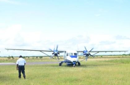 An aircraft arriving at the Annai airstrip