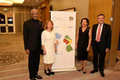 From left: President David Granger, Mrs. Martino, First Lady Ms. Sandra Granger and Ambassador Luis Martino a at the reception, held earlier this evening at the Marriott Hotel.