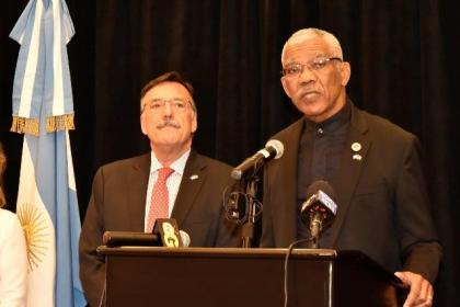 President David Granger delivering his speech at the reception to mark the Bicentennial Independence Anniversary of Argentine Republic, this evening at the Marriott Hotel in Georgetown.