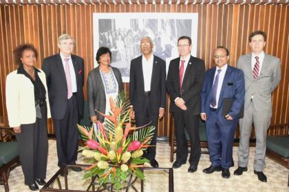 President David Granger (centre) is flanked by, from left to right: Ms. Khadija Musa, Resident Representative of the United Nations, Baron Marc Bossuyt, President Emeritus of the Constitutional Court  and Member of the United Nations Committee on the Elimination of Racial Discrimination, Ms. Navi Pillay, Former United Nations High Commissioner for Human Rights and Former Judge of the International Court of Justice; Mr. Ivan Simonovic, Assistant Secretary-General, Office of the High Commissioner for Human Rights, Mr. Rajiv Narayan, Senior Policy Adviser, Secretariat of the International Commission against the Death Penalty and Mr. Derek Lambe, Head of Political Press and Information Section, Delegation of the European Union in Guyana
